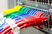 stock photo of utp  - Network switch and UTP ethernet lan cables - JPG