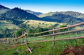 stock photo of log fence  - rural fence made  - JPG