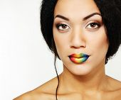 pic of mulatto  - Beauty portrait of beautiful young mulatto fresh woman with rainbow lipstick - JPG