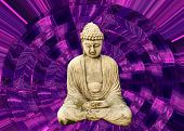 stock photo of trippy  - buddha and psychedelic or trippy purple background - JPG