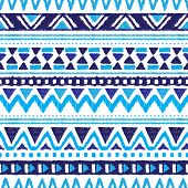 foto of aztec  - Seamless trend blue aztec vintage folklore background pattern in vector - JPG