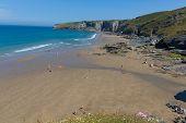 picture of heatwave  - Trebarwith Strand beach Cornwall near Tintagel England UK - JPG