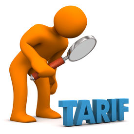 image of tariff  - Orange cartoon character with loupe and blue german text  - JPG