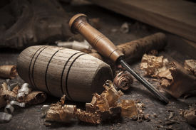 pic of woodcarving  - joiner tools with shavings on wood table background - JPG