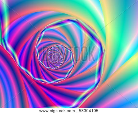 Psychedelic blue spiral stylized nautilus