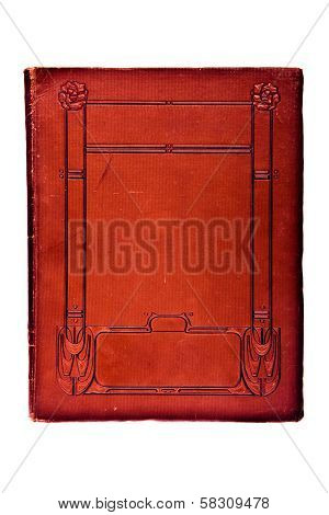 Very old book cover in red tones