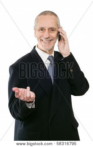 Smiling And Agreeable Businessman On Phone