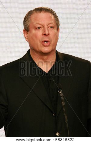 Al Gore at a press conference to Announce the Global Climate Crisis Campaign Concert
