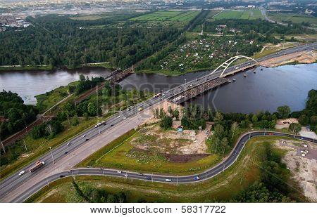 Aerial View Of Motor Bridge Under Construction Beltway St. Petersburg.