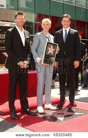 Ryan Seacrest, Ellen Degeneres, Jimmy Kimmel at the Ellen Degeneres Star on the Hollywood Walk of Fame Ceremony, Hollywood, CA 09-04-12