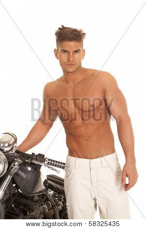 Man No Shirt Stand By Motorcycle Very Serious
