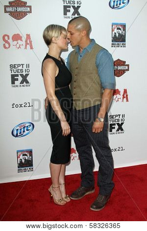 Theo Rossi and Sarah Jones at the