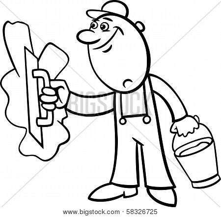 Worker With Plaster Coloring Page