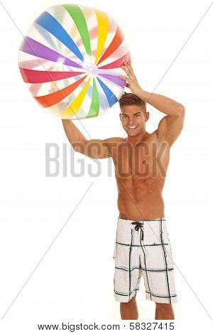 Man Swimsuit With Beachball Over Head