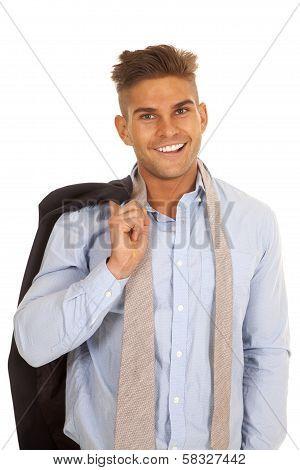 Man Suit Coat Over Shouldr Tie Undone Smile
