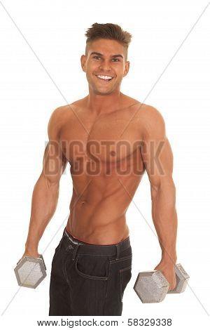 Strong Man No Shirt Hold Weights