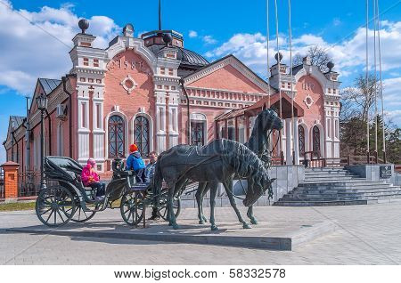 Bronze horses at the Provincial museum. Tobolsk
