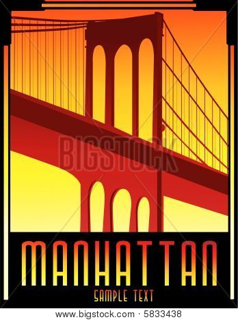 art deco bridge vector