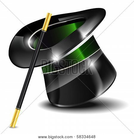 Glossy magic hat and wand on white background