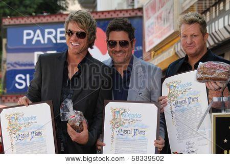 Jay Demarcus, Joe Don Rooney and Gary LeVox of the Rascal Flatts on the Hollywood Walk of Fame, Hollywood, CA 09-17-12