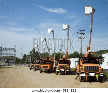 Parked Bucket Trucks