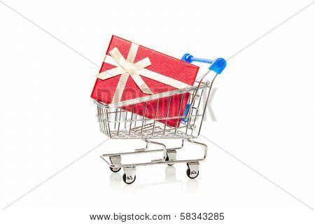 Shopping Cart And Gift Box