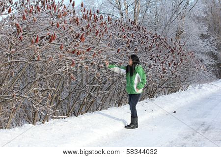 Woman pointing to Ice on Sumac