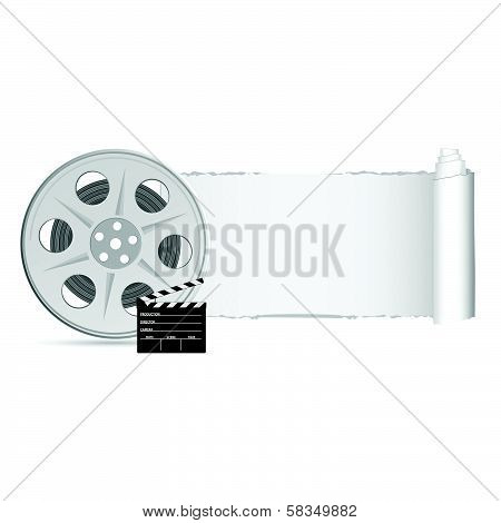 Film Tape With Tearing Paper Color Vector