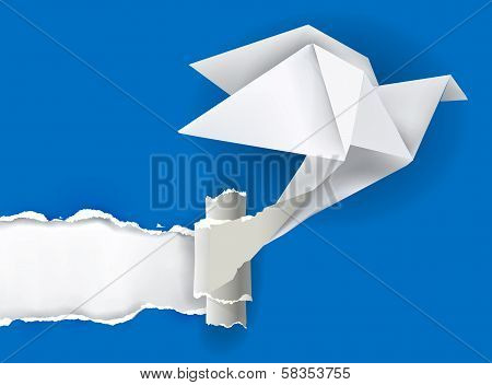 Origami bird ripping paper