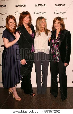 Bryce Dallas Howard and Andrea Buchanan with Jennifer Aniston and Carol Leifer at the Glamour Reel Moments Short Film Series presented by Cartier. Directors Guild of America, Los Angeles, CA.10-16-06