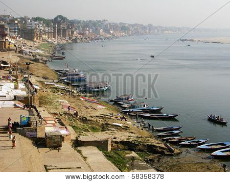 Boats on the Ganges River in Varanasi, India
