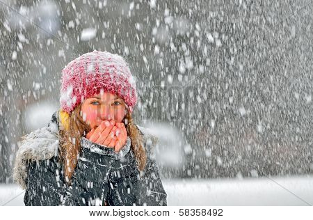 Girl Frozen In Snow