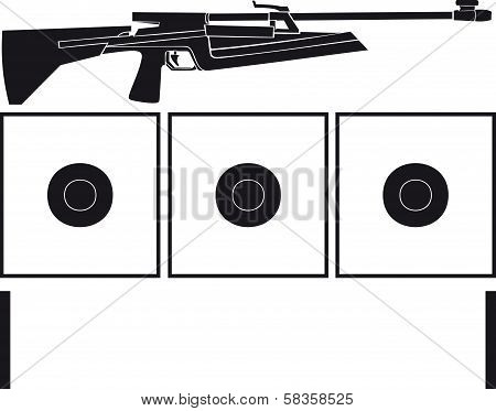Rifle and targets for biathlon