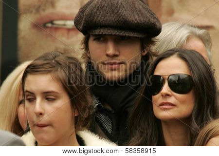 Scout LaRue Willis with Ashton Kutcher and Demi Moore at the Ceremony honoring Bruce Willis with the 2,321st star on the Hollywood Walk of Fame. Hollywood Boulevard, Hollywood, CA. 10-16-06