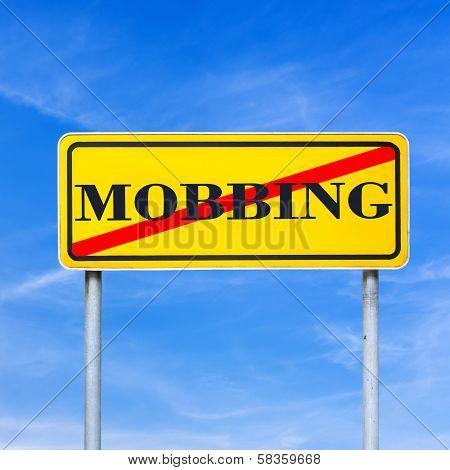 Mobbing Forbidden Traffic Warning Sign