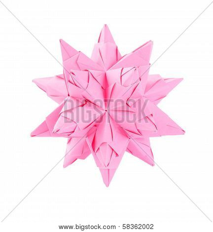 Pink Origami Isolated Background