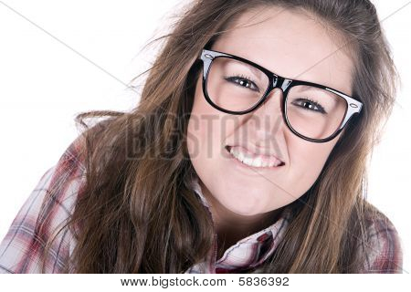 Shot Of An Attractive Geek On White