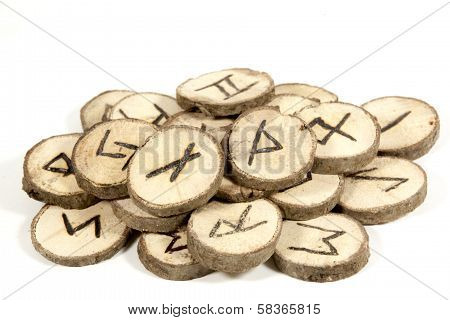 Studio Shot Collection Of Old Wooden Runes