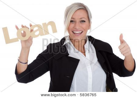 Beautiful Young Businesswoman Is Happy With Loan