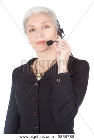 Senior Telephone Operator Isolated On White back