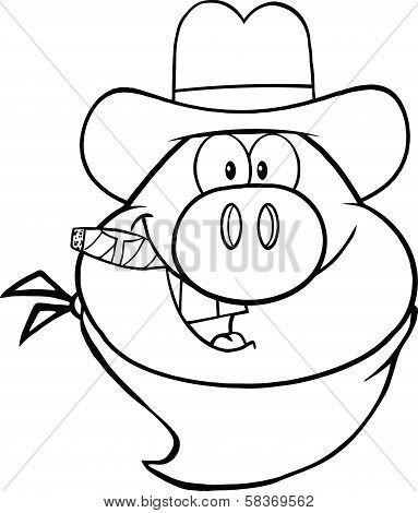 Black And White Cowboy Pig Head Cartoon Character