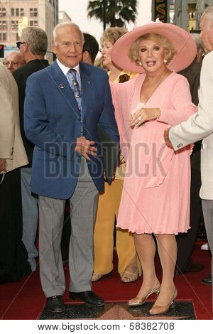 Buzz Aldrin and Ruta Lee at the award ceremony honoring Ruta Lee with a star on the Hollywood Walk of Fame. Hollywood Blvd., Hollywood, CA. 10-10-06