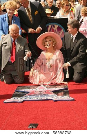 Johnny Grant, Debbie Reynolds, Alex Trebek, Ruta Lee and Leron Gubler at the award ceremony honoring Ruta Lee with a star on the Hollywood Walk of Fame. Hollywood Blvd., Hollywood, CA. 10-10-06