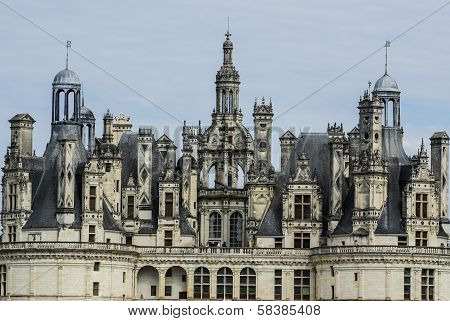 Chambord Castle Is Located In Loir-et-cher, France. It Has A Very Distinct French Renaissance Archit