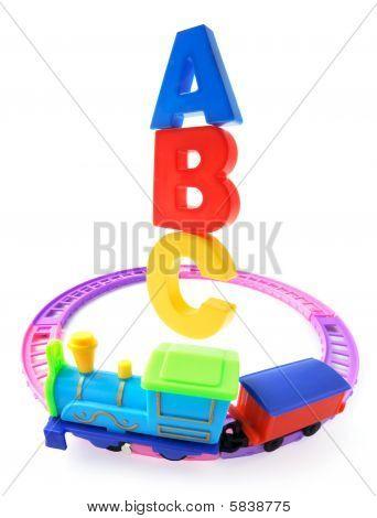 Toy Train On Railway Track