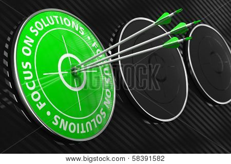 Focus on Solutions Slogan - Green Target.