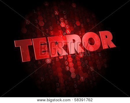 Terror on Red Digital Background.