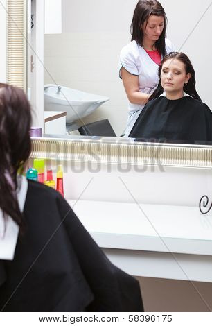Hairdresser Applying Color Female Customer At Salon, Doing Hair Dye