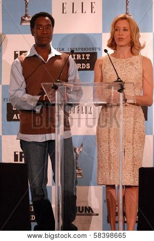 LOS ANGELES - NOVEMBER 28: Don Cheadle and Felicity Huffman at the 2007 Film Independent's Spirit Awards Nominations at Sofitel Hotel on November 28, 2006 in Los Angeles, CA.