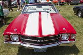 1971 Red With White Stripes Chevy Chevelle Ss Front View